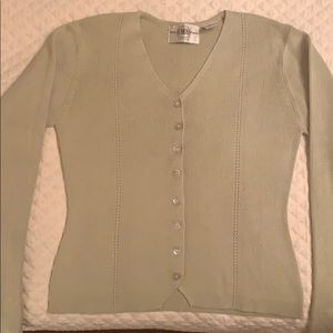 Green cotton blend sweater S